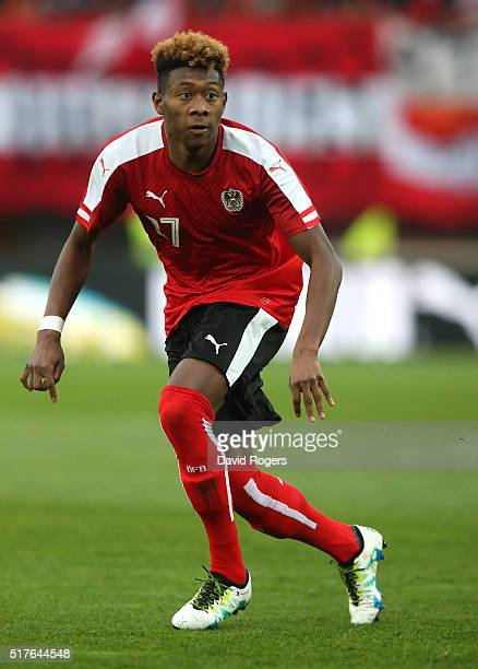 David Alaba of Austria looks on during the international friendly match between Austria and Albania at the ErnstHappelStadion on March 26 2016 in...