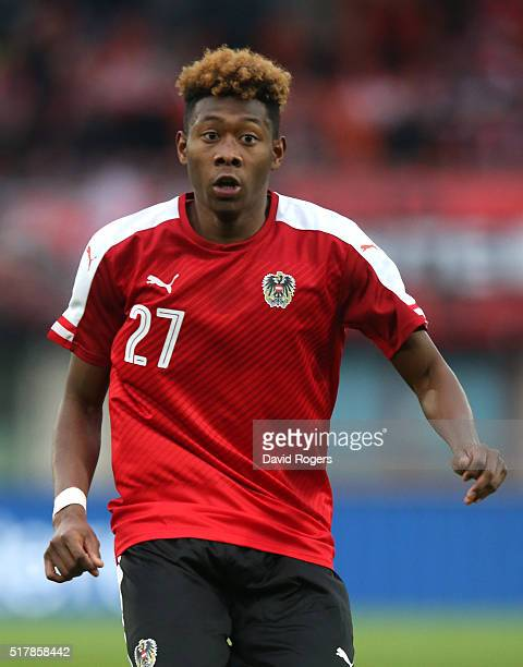 David Alaba of Austria looks on during the international friendly match between Austria and Albania at the Ernst Happel Stadium on March 26 2016 in...