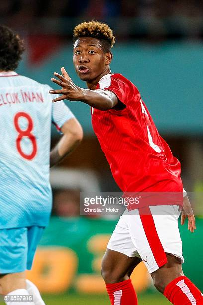 David Alaba of Austria reacts during the international friendly match between Austria and Turkey at ErnstHappelStadium on March 29 2016 in Vienna...