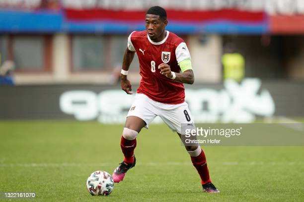 David Alaba of Austria runs with the ball during the international friendly match between Austria and Slovakia at Ernst Happel Stadion on June 06,...