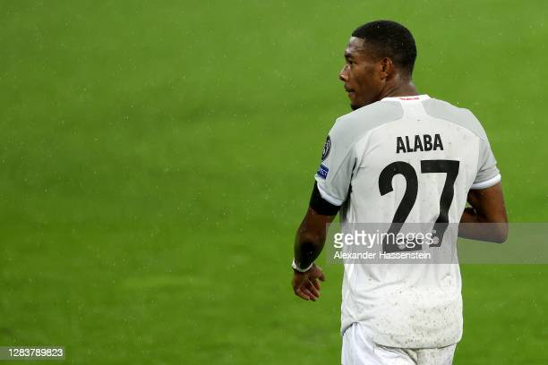 David Alaba of Bayern München looks on during the UEFA Champions League Group A stage match between RB Salzburg and FC Bayern Muenchen at Red Bull...