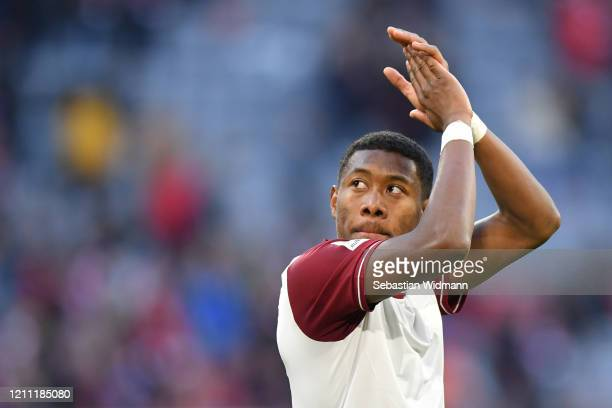 David Alaba of Bayern Muenchen applauds after the Bundesliga match between FC Bayern Muenchen and FC Augsburg at Allianz Arena on March 08 2020 in...