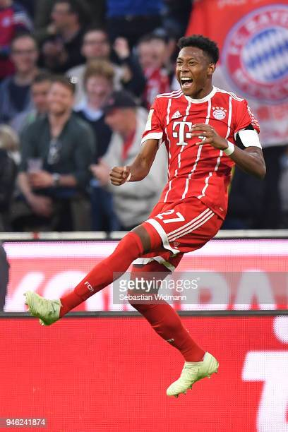 David Alaba of Bayern Muenchen celebrates after he scored a goal to make it 41 during the Bundesliga match between FC Bayern Muenchen and Borussia...