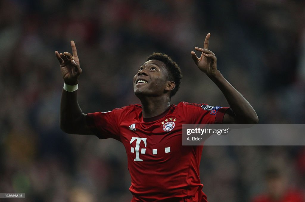David Alaba of Bayern Muenchen celebrates his first goal against Arsenal FC during the UEFA Champions League Group F match between Arsenal FC and FC Bayern Munchen on November 4, 2015 in Munich, Germany.