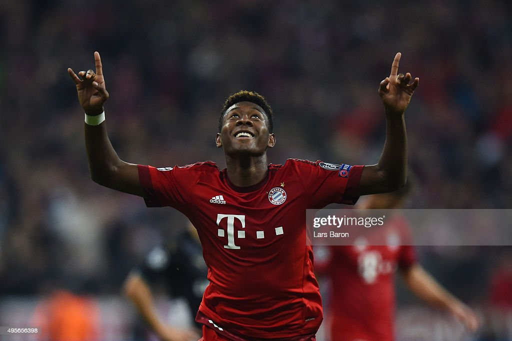 David Alaba of Bayern Muenchen celebrates scoring his side's third goal during the UEFA Champions League Group F match between FC Bayern Muenchen and Arsenal FC at the Allianz Arena on November 4, 2015 in Munich, Germany.