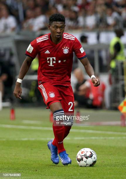 David Alaba of Bayern Muenchen controls the ball during the DFL Supercup match between Eintracht Frankfurt and Bayern Muenchen at CommerzbankArena on...