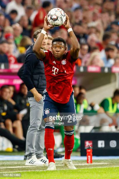 David Alaba of Bayern Muenchen controls the ball during the Bundesliga match between FC Bayern Muenchen and Borussia Moenchengladbach at Allianz...