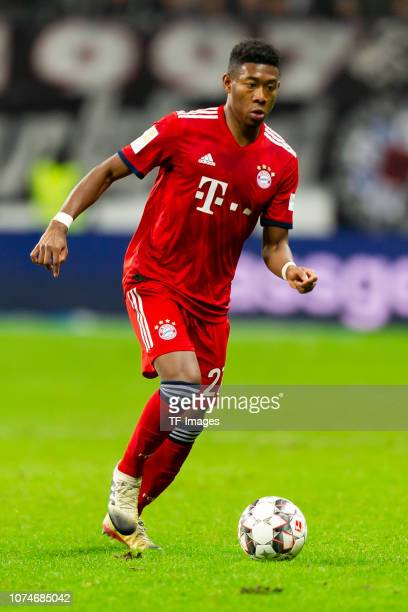 David Alaba of Bayern Muenchen controls the ball during the Bundesliga match between Eintracht Frankfurt and FC Bayern Muenchen at CommerzbankArena...