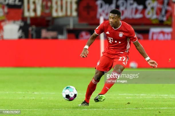 David Alaba of Bayern Muenchen controls the ball during the Bundesliga match between Bayer 04 Leverkusen and FC Bayern Muenchen at BayArena on...