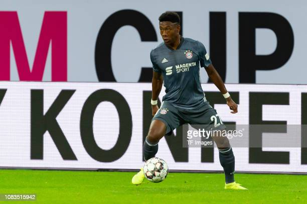 David Alaba of Bayern Muenchen controls the ball during the Telekom Cup Semifinal match between Fortuna Duesseldorf and Bayern Muenchen at Merkur...