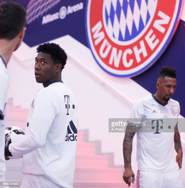 David Alaba of Bayern Muenchen gets ready before the Bundesliga match between Bayern Muenchen and Borussia Dortmund at Allianz Arena on April 8 2017...