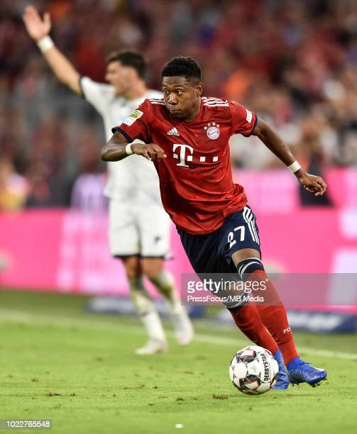 David Alaba of Bayern Muenchen in action during the Bundesliga match between FC Bayern Muenchen and TSG 1899 Hoffenheim at Allianz Arena on August 24...