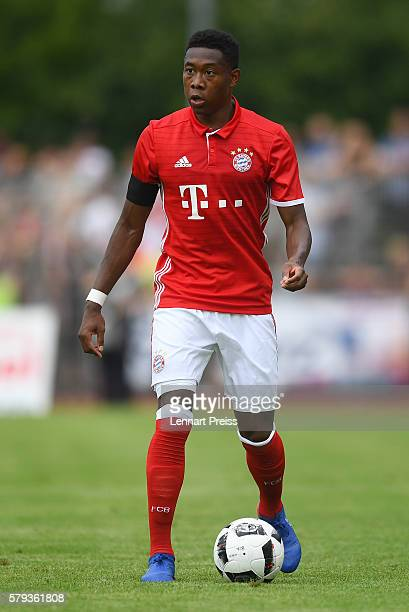 David Alaba of Bayern Muenchen in action during the preseason friendly match between SpVgg Landshut and FC Bayern Muenchen at ebmPapst Stadion on...