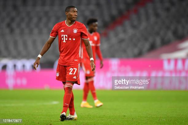David Alaba of Bayern Muenchen looks on during the Bundesliga match between FC Bayern Muenchen and Hertha BSC at Allianz Arena on October 04 2020 in...