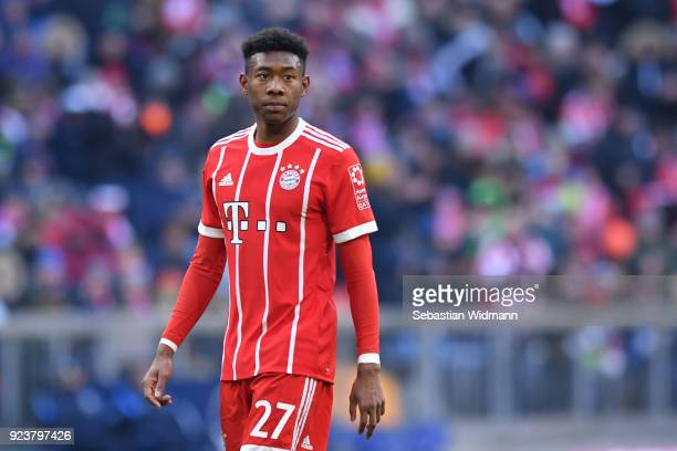 David Alaba of Bayern Muenchen looks on during the Bundesliga match between FC Bayern Muenchen and Hertha BSC at Allianz Arena on February 24 2018 in...