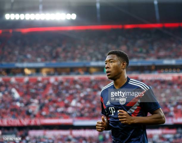 David Alaba of Bayern Muenchen looks on prior to the Bundesliga match between FC Bayern Muenchen and Borussia Moenchengladbach at Allianz Arena on...