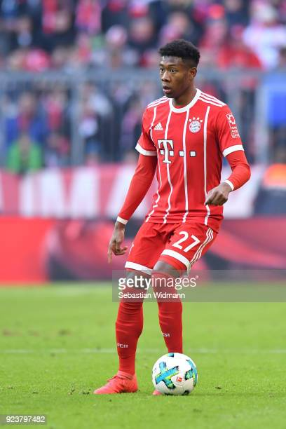 David Alaba of Bayern Muenchen plays the ball during the Bundesliga match between FC Bayern Muenchen and Hertha BSC at Allianz Arena on February 24...