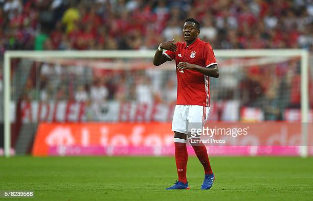 David Alaba of Bayern Muenchen reacts during the pre season friendly match between FC Bayern Muenchen and Manchester City FC at Allianz Arena on July...
