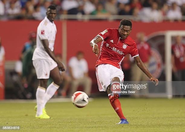 David Alaba of Bayern Muenchen scores his first goal during the International Champions Cup between FC Bayern Muenchen and AC Milan of AUDI Summer...