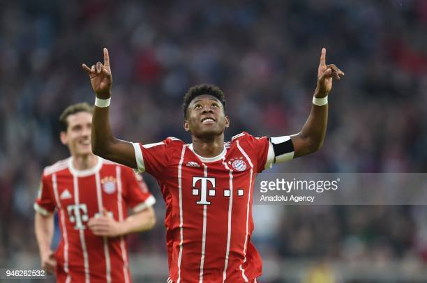 David Alaba of Bayern Munich celebrates a goal during the German Bundesliga soccer match between FC Bayern Munich and Borussia Monchengladbach at the...