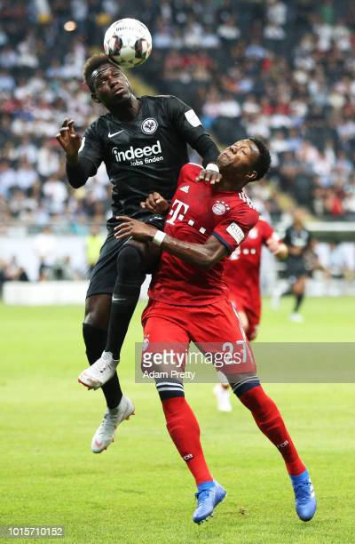 David Alaba of Bayern Munich challenges Danny da Costa of Eintracht Frankfurt during the DFL Supercup 2018 match between Eintracht Frankfurt and...