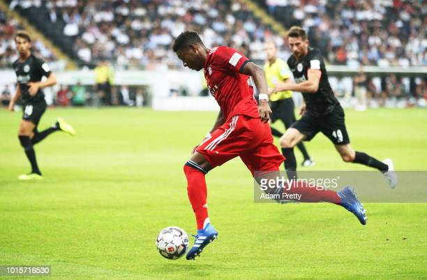 David Alaba of Bayern Munich controls the ball during the DFL Supercup 2018 match between Eintracht Frankfurt and Bayern Muenchen at CommerzbankArena...