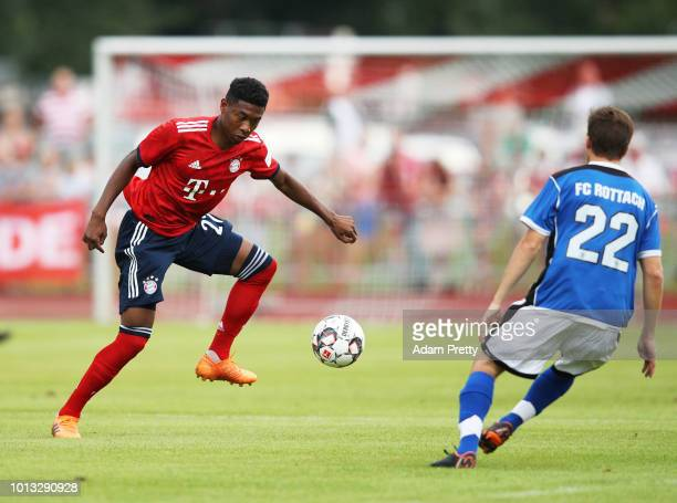 David Alaba of Bayern Munich controls the ball during the PreSeason Friendly match between SV RottachEgern and FC Bayern Muenchen on August 8 2018 in...