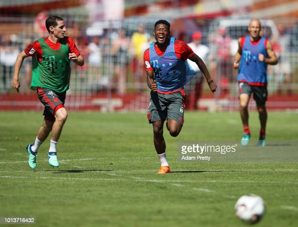 David Alaba of Bayern Munich in action during FC Bayern Muenchen pre season training on August 9, 2018 in Rottach-Egern, Germany.