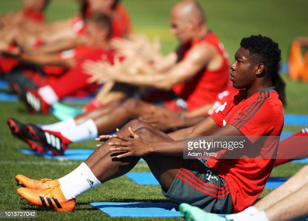 David Alaba of Bayern Munich in action during FC Bayern Muenchen pre season training on August 9 2018 in RottachEgern Germany