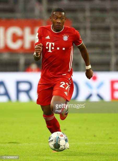 David Alaba of Bayern Munich in action during the DFB Cup semifinal match between FC Bayern Muenchen and Eintracht Frankfurt at Allianz Arena on June...