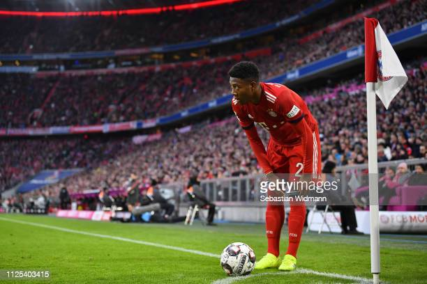 David Alaba of Bayern Munich prepares for a corner kick during the Bundesliga match between FC Bayern Muenchen and VfB Stuttgart at Allianz Arena on...