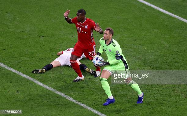 David Alaba of Bayern Munich reacts after fouling Ivan Rakitic of Sevilla FC and a penalty is later awarded to Sevilla FC during the UEFA Super Cup...