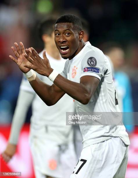 David Alaba of Bayern Munich reacts during the UEFA Champions League Group A stage match between Lokomotiv Moskva and FC Bayern Muenchen at RZD Arena...