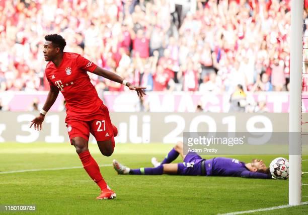 David Alaba of Bayern Munich scores a goal during the Bundesliga match between FC Bayern Muenchen and Eintracht Frankfurt at Allianz Arena on May 18...