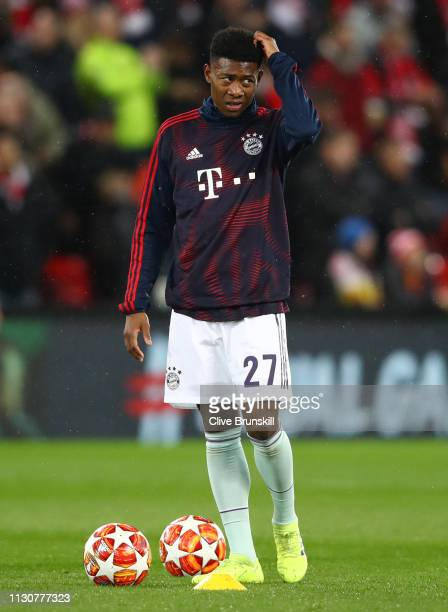 David Alaba of Bayern Munich warms up prior to the UEFA Champions League Round of 16 First Leg match between Liverpool and FC Bayern Muenchen at...