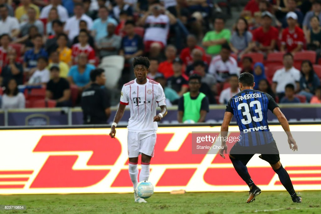 David Alaba of FC Bayern controls the ball during the International Champions Cup match between FC Bayern and FC Internazionale at the National Stadium on July 27, 2017 in Singapore.