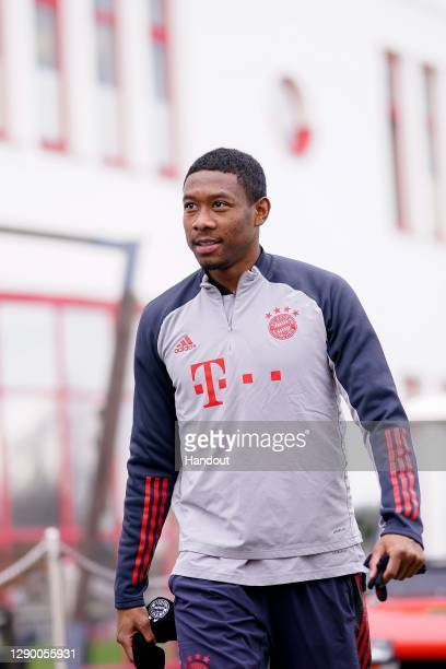 David Alaba of FC Bayern München arrives for a training session ahead of the UEFA Champions League Group A stage match between FC Bayern Muenchen and...