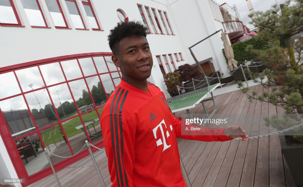 David Alaba of FC Bayern Muenchen arrives for a training session at the club's Saebener Strasse training ground on May 17, 2018 in Munich, Germany.