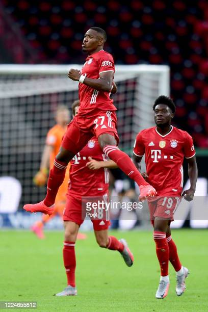 David Alaba of FC Bayern Muenchen celebrates after scoring teh first goal for FC Bayern Muenchen during the DFB Cup final match between Bayer 04...