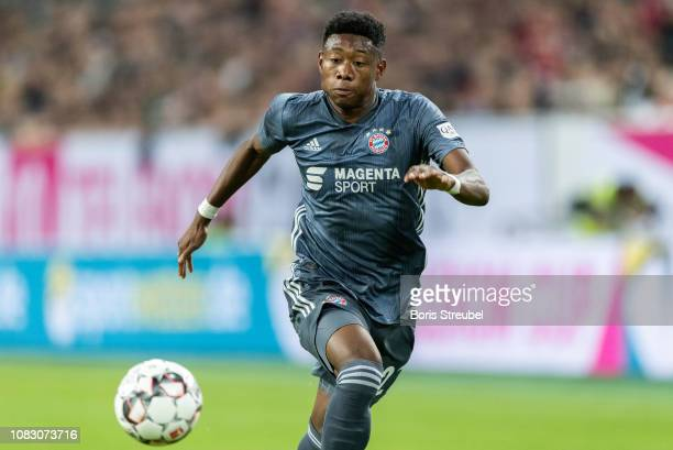 David Alaba of FC Bayern Muenchen controls the ball during the Telekom Cup 2019 semifinal match between Fortuna Duesseldorf and FC Bayern Muechen at...