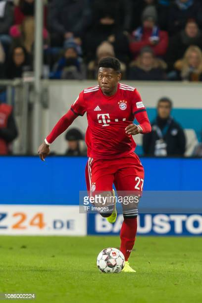 David Alaba of FC Bayern Muenchen controls the ball during the Bundesliga match between TSG 1899 Hoffenheim and FC Bayern Muenchen at PreZeroArena on...