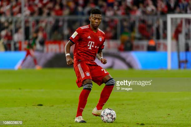David Alaba of FC Bayern Muenchen controls the ball during the Bundesliga match between FC Bayern Muenchen and 1 FC Nuernberg at Allianz Arena on...