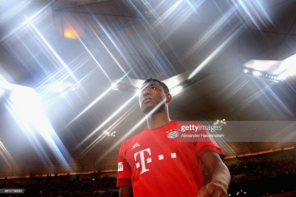 David Alaba of FC Bayern Muenchen enters the field for the international friendly match between FC Bayern Muenchen and Valencia FC of the Audi Football Summit 2015 at National Stadium on July 18, 2015 in Beijing, China.
