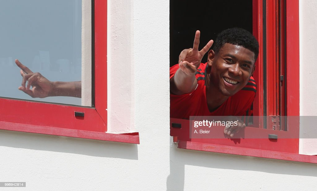 David Alaba of FC Bayern Muenchen gestures during a training session at the club's Saebener Strasse training ground on July 12, 2018 in Munich, Germany.