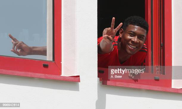 David Alaba of FC Bayern Muenchen gestures during a training session at the club's Saebener Strasse training ground on July 12 2018 in Munich Germany