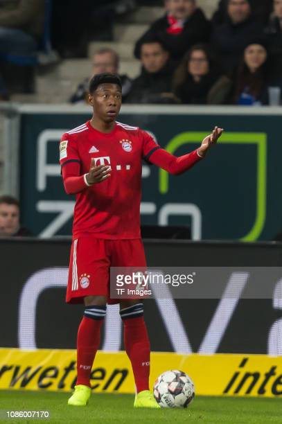 David Alaba of FC Bayern Muenchen gestures during the Bundesliga match between TSG 1899 Hoffenheim and FC Bayern Muenchen at PreZeroArena on January...