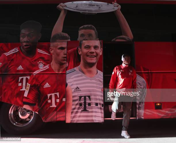 David Alaba of FC Bayern Muenchen leaves the team bus ahead of the Bundesliga match between FC Bayern Muenchen and Borussia Moenchengladbach at...