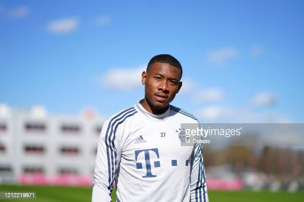 David Alaba of FC Bayern Muenchen looks on during a training session at Saebener Strasse training ground on March 13 2020 in Munich Germany