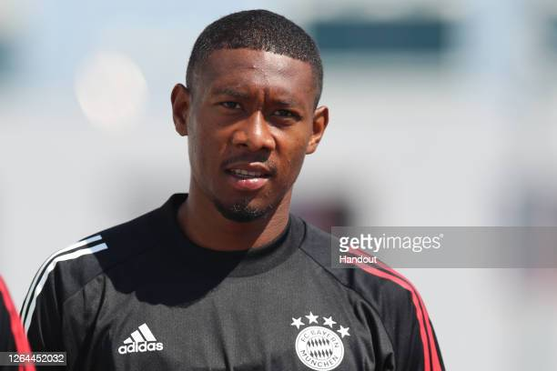 David Alaba of FC Bayern Muenchen looks on during a training session ahead of their UEFA Champions League round of 16 second leg match against...
