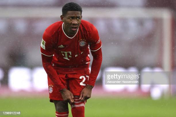 David Alaba of FC Bayern Muenchen looks on during the Bundesliga match between FC Bayern Muenchen and Sport-Club Freiburg at Allianz Arena on January...